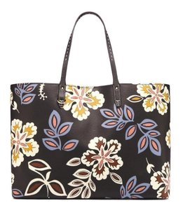 Tory Burch Hopewell Floral Leather Tote in Black