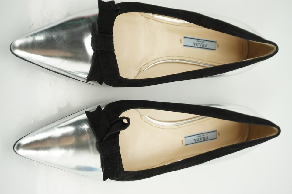 65af664d4 Prada Silver Shiny Metallic Leather Pointed Bow Toe Ballet Flats ...