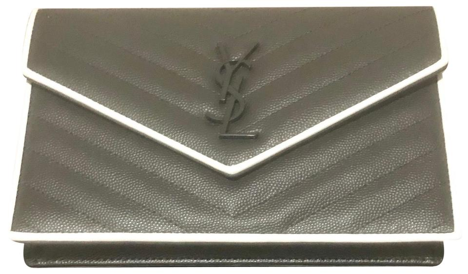 e26fa6d77b Saint Laurent Monogram Clutch Grey and White Calfskin Leather Cross ...