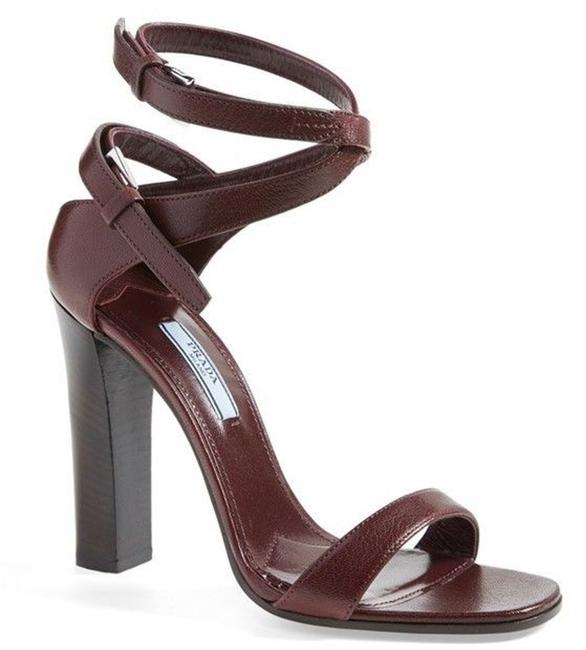 Prada Red Leather Ankle Strappy High Sandals Size EU 38.5 (Approx. US 8.5) Regular (M, B) Image 1