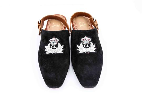 Christian Louboutin * Black Oliveira Flat Suede Slippers Shoes
