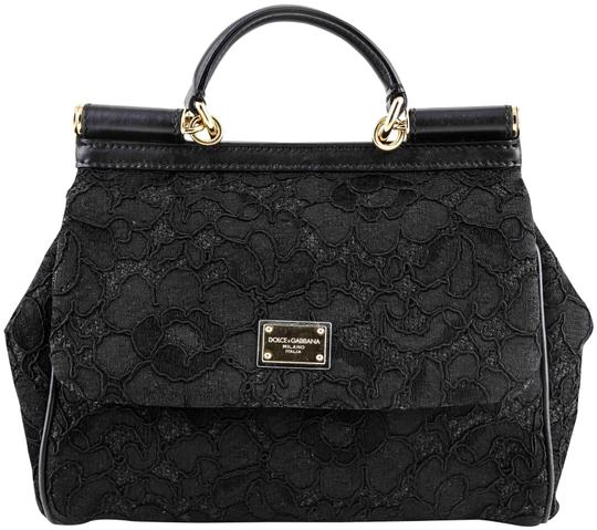 Preload https://img-static.tradesy.com/item/23693561/dolce-and-gabbana-dolce-and-gabbana-miss-sicily-lace-black-canvas-satchel-0-1-540-540.jpg