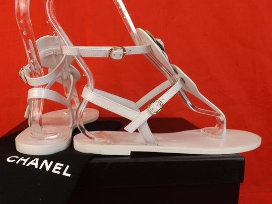 Chanel Buckle Flat Camellia WHITE Sandals