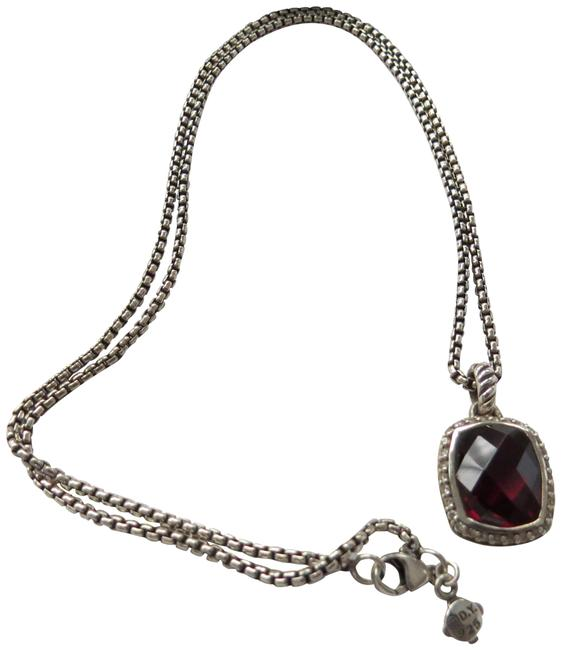 "Item - Red Box Noblesse Garnet/Pave' Diamond Pendant; 18"" 1.7mm Baby Chain Necklace"