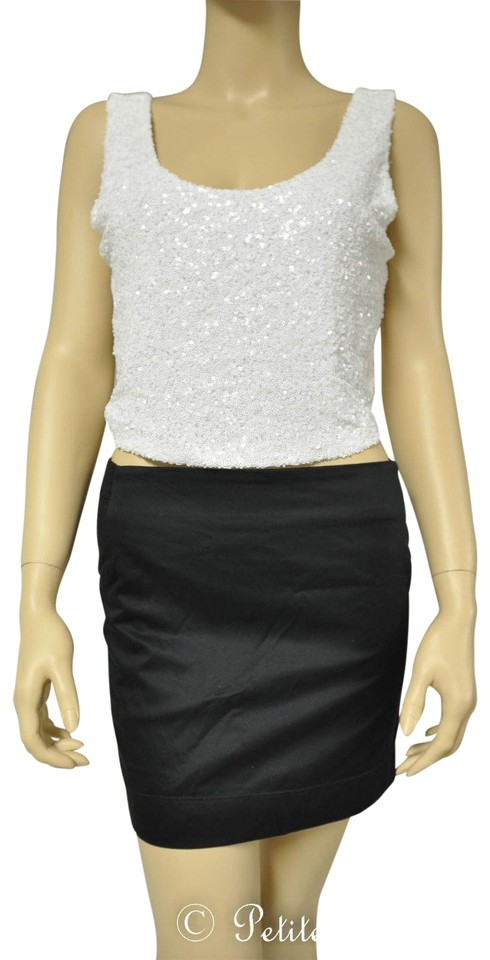 fb89b321b10f2 Arden B. White Sequin Cropped Tank Top Cami Size 8 (M) - Tradesy