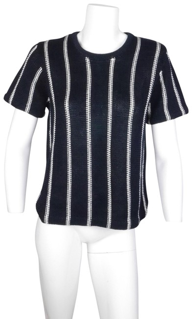Preload https://img-static.tradesy.com/item/23693773/theory-blue-emmeris-navy-striped-short-sleeve-sweater-knit-nautical-tank-topcami-size-8-m-0-1-650-650.jpg