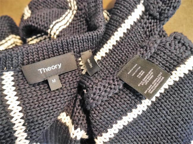 Theory Knit Striped Top BLUE