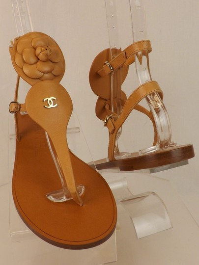 Chanel Buckle Thong Flat Camellia light Brown Sandals