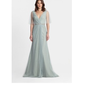 Monique Lhuillier Sage (Soft Green) Tulle 450376 Feminine Bridesmaid/Mob Dress Size 10 (M)