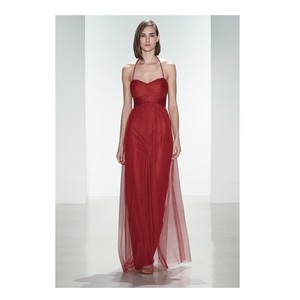 Amsale Crimson (Red) Tulle G924u Feminine Bridesmaid/Mob Dress Size 8 (M)