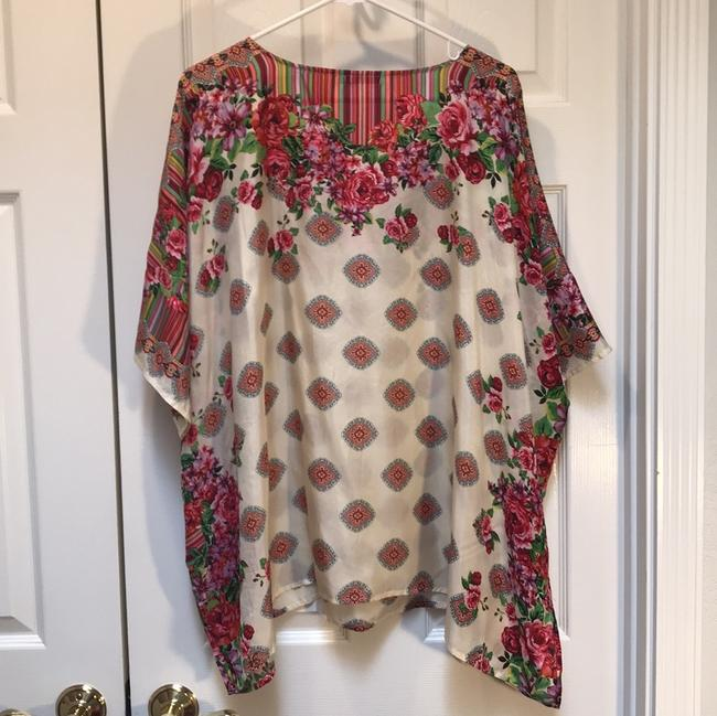 Johnny Was Silk Print Floral Short Sleeve Tunic