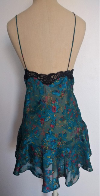 Victoria's Secret short dress Turquoise Floral Nighty Vintage Lingerie Black Lace Vintage on Tradesy
