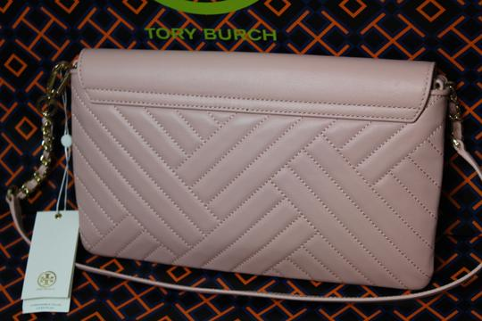 Tory Burch Quilted Leather Shoulder Pink Clutch