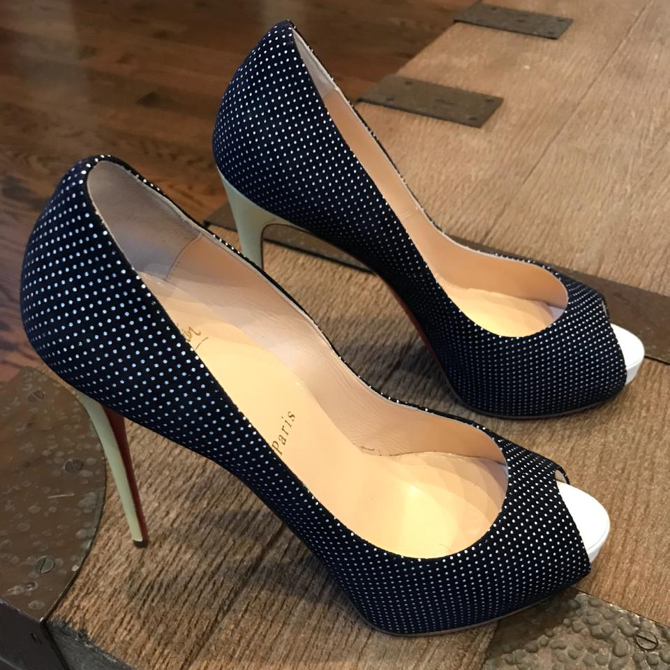 0f0c0bd8b99a Christian Louboutin Navy New Very Prive Yellow Polka Dot Peep Toe Pumps  Size EU 38 (Approx. US 8) Regular (M