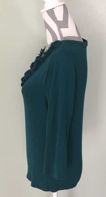 Talbots V-neck Ruffle 3/4 Sleeve Sweater Top Teal