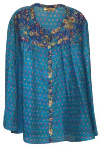 Persaman New York Button Down Print Longsleeve Silk Tunic