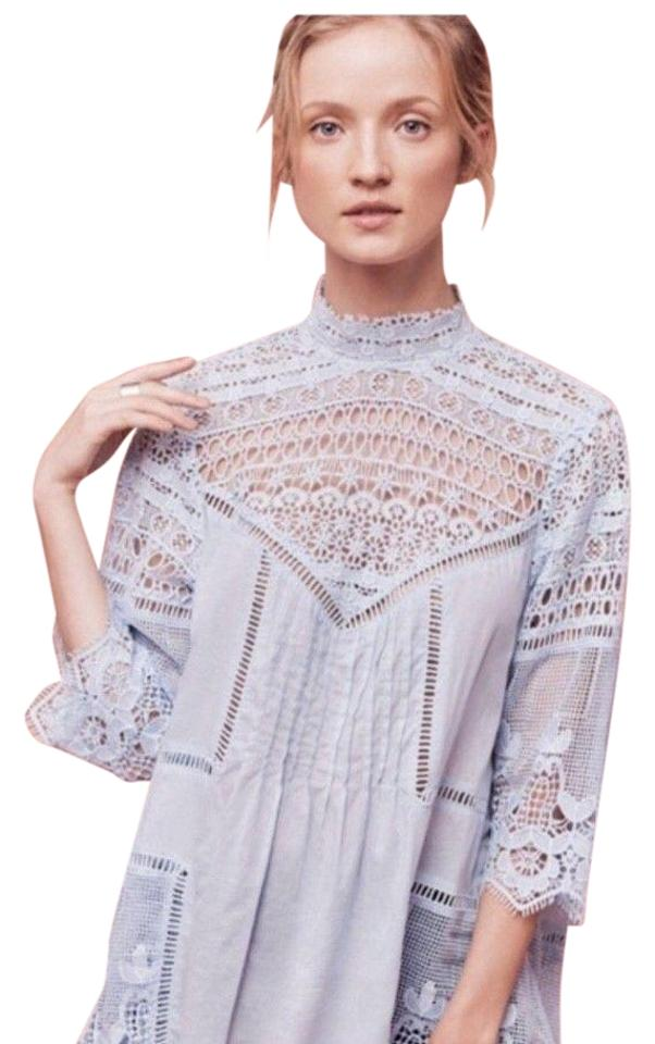 c2efe5d4fd9d Anthropologie Blue Plenty By Tracy Reese Victoria Lace Tunic Size 12 ...