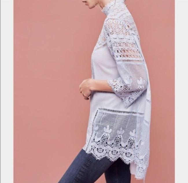 Anthropologie Lace Trim 3/4 Sleeve Buttons Cotton High Ow Hem Tunic