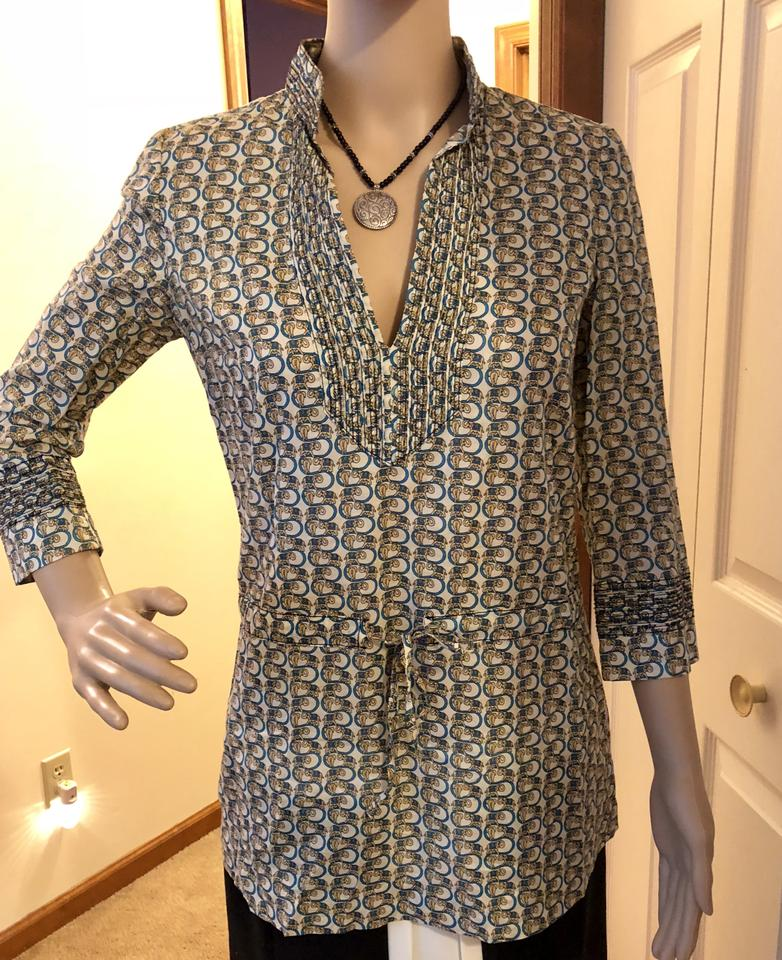 5c365c3938d Tory Burch Elephant Boho Tie At Waist Gathering At Sleeves 3/4 Sleeves Tunic  Image. 123456789101112