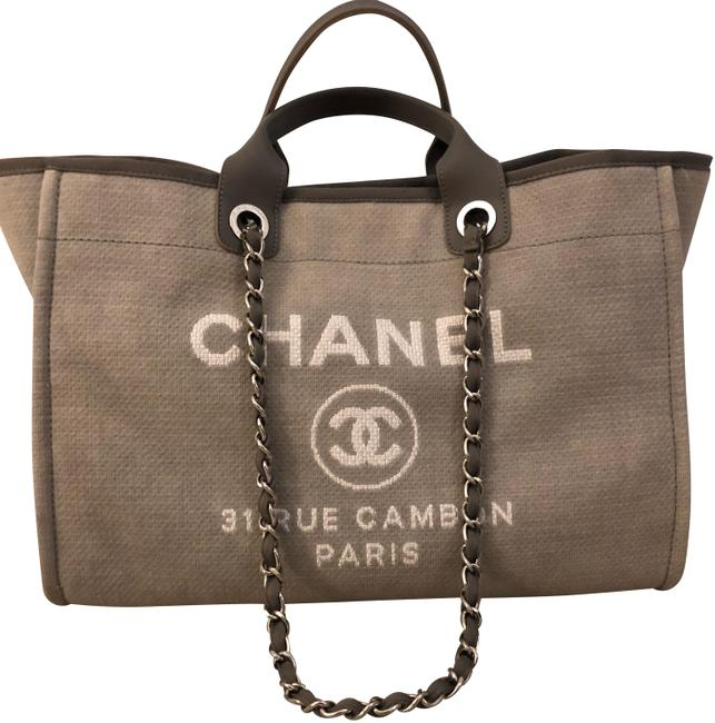 Item - Deauville Large Light Grey Canvas Tote