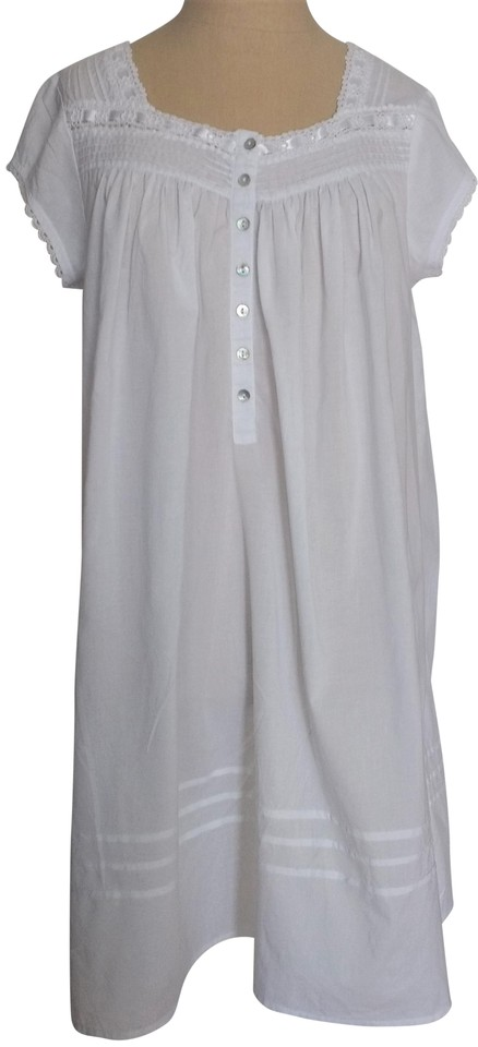 Eileen West White Cotton Night Gown Mid-length Short Casual Dress ...