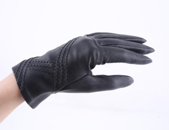 Hermès Hermes Black Leather Gloves