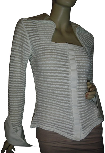 Preload https://img-static.tradesy.com/item/23694239/made-in-france-rayure-paris-white-woven-cardigan-luxury-unique-blouse-size-6-s-0-1-650-650.jpg