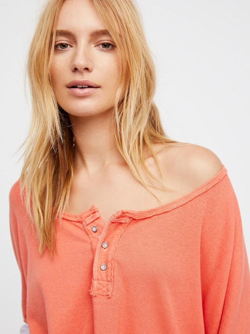 Free People We The Star Henley Colorblock Top CORAL / ORANGE GRAY