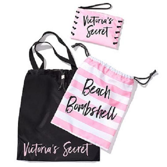 Preload https://img-static.tradesy.com/item/23694317/victoria-s-secret-bombshell-beach-bikini-packable-trio-black-pink-nylon-weekendtravel-bag-0-2-540-540.jpg
