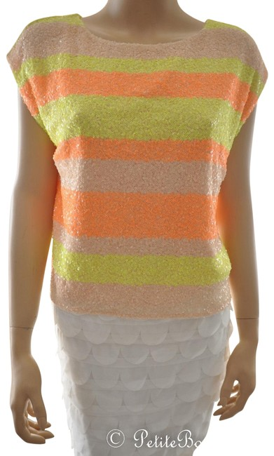 Preload https://img-static.tradesy.com/item/23694373/ark-and-co-neon-orange-yellow-peach-sequin-stripe-night-out-top-size-4-s-0-1-650-650.jpg
