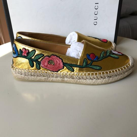 Gucci Loafers Espadrilles Floral Loafers Size 38.5 Gold Flats