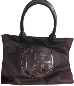 Tory Burch Nylon Leather Tote in black