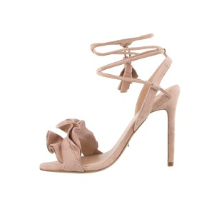 Tony Bianco Suede Ruffle Ankle Strap Blush Pink Sandals