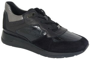 Geox Leather Suede Sneakers Black Athletic