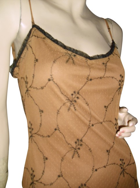 Item - Gold Black Embroidered Tulle Bra Lace Edge Sweetheart Long Formal Dress Size 6 (S)