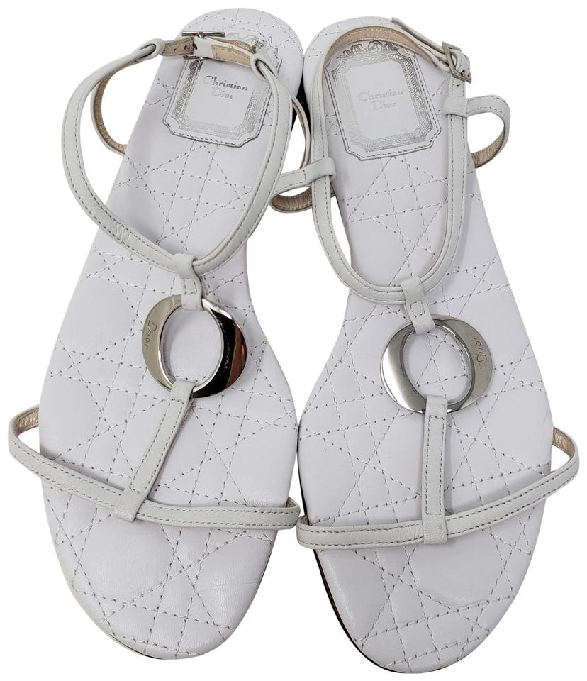 509ce242e83c Dior Silver Hardware Quilted Ankle Strap Diorissimo Logo White Sandals  Image 0 ...