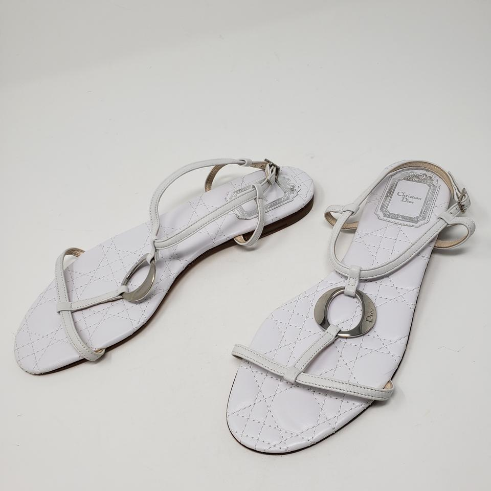 5ab69d6584c4 Dior Silver Hardware Quilted Ankle Strap Diorissimo Logo White Sandals  Image 11. 123456789101112