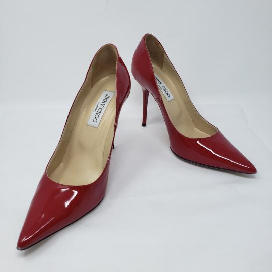 50bc90a02e05 Jimmy Choo Pointed Toe Crystal Abel Anouk Patent Leather Red Pumps Image 5