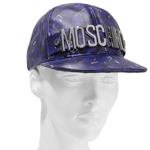 Moschino MOSCHINO Embellished printed leather baseball cap