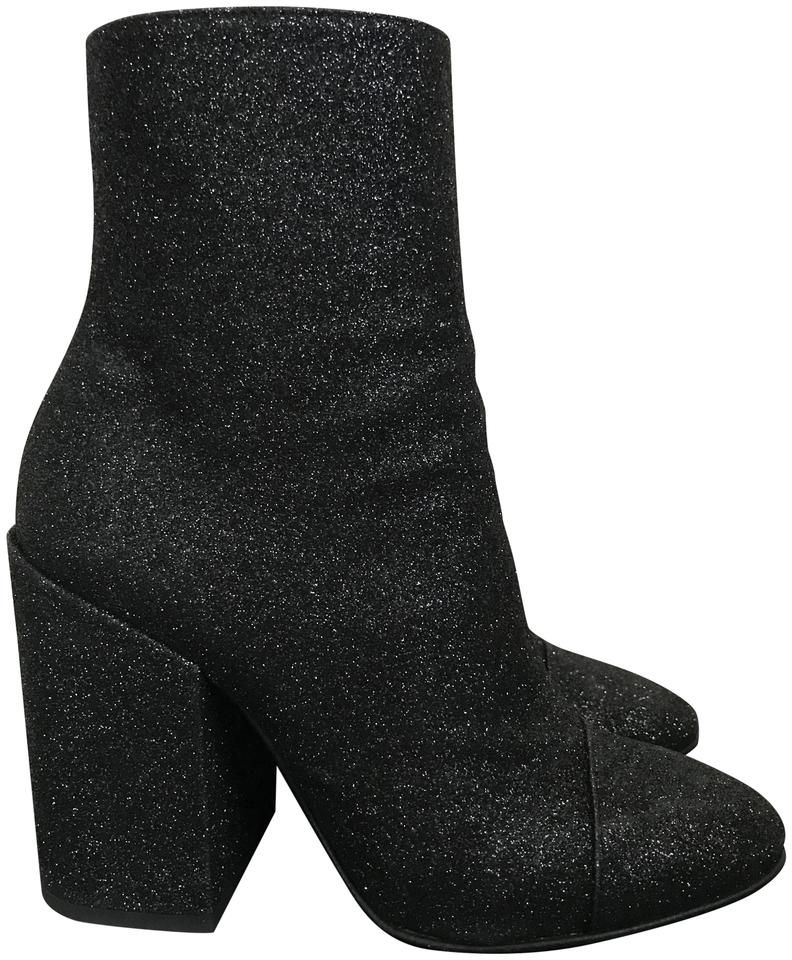 2a70a622b6 Dries van Noten Black Glitter Chunky Heel Cap Toe Ankle Boots Booties