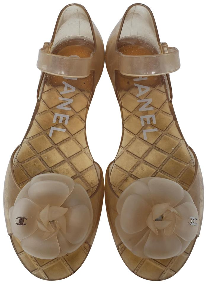 a7abd42fa Chanel Beige Tan Jelly Camellia Cc Log Jelly Sandals Size EU 38 ...