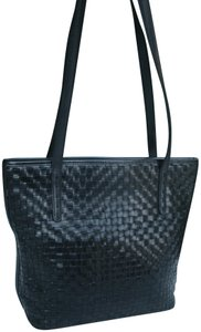 Fossil Woven Weave Laced Leather Tote in Black