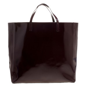 Anya Hindmarch Patent Leather Suede Tote in Burgundy