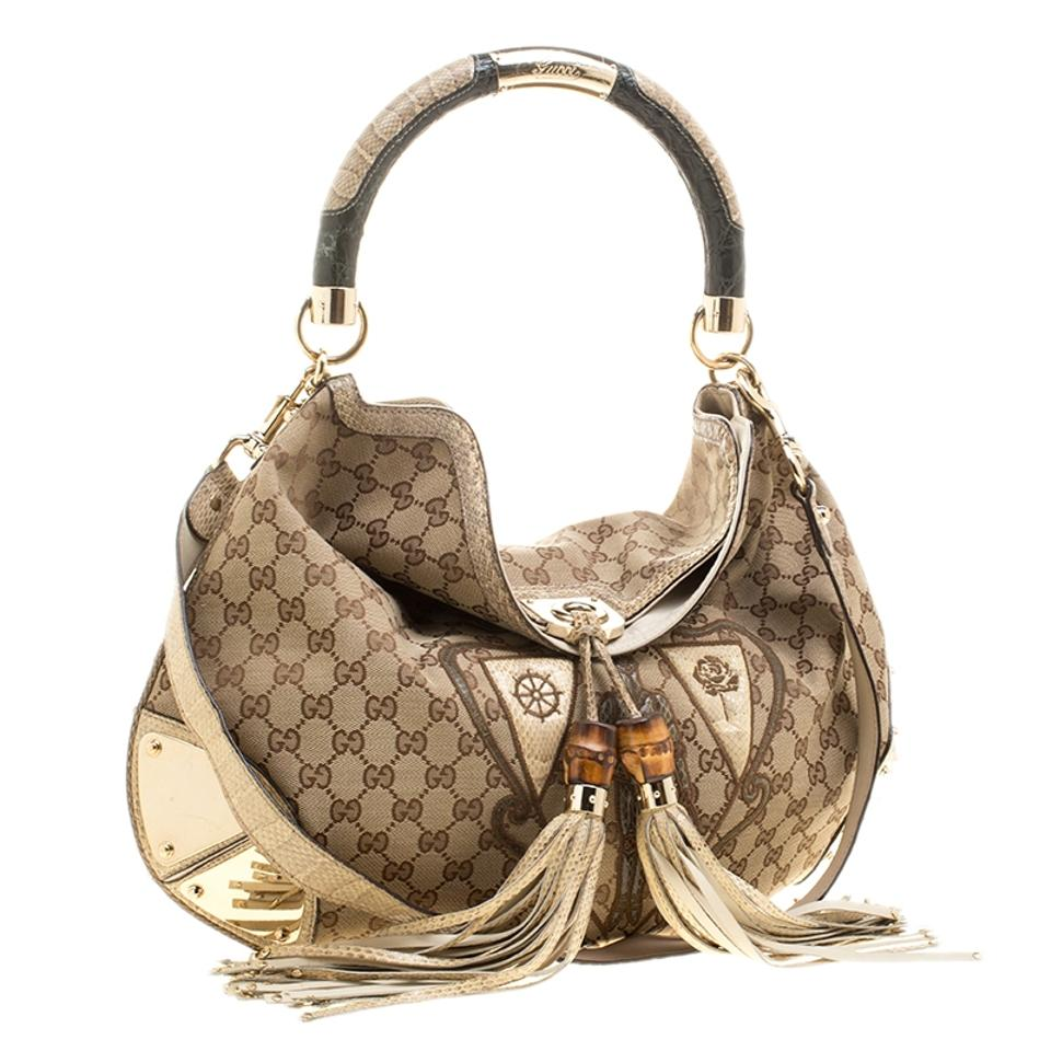 e714d64669668a Gucci Indy Canvas Limited Edition Crest Patchwork Top Handle Beige Leather  Hobo Bag