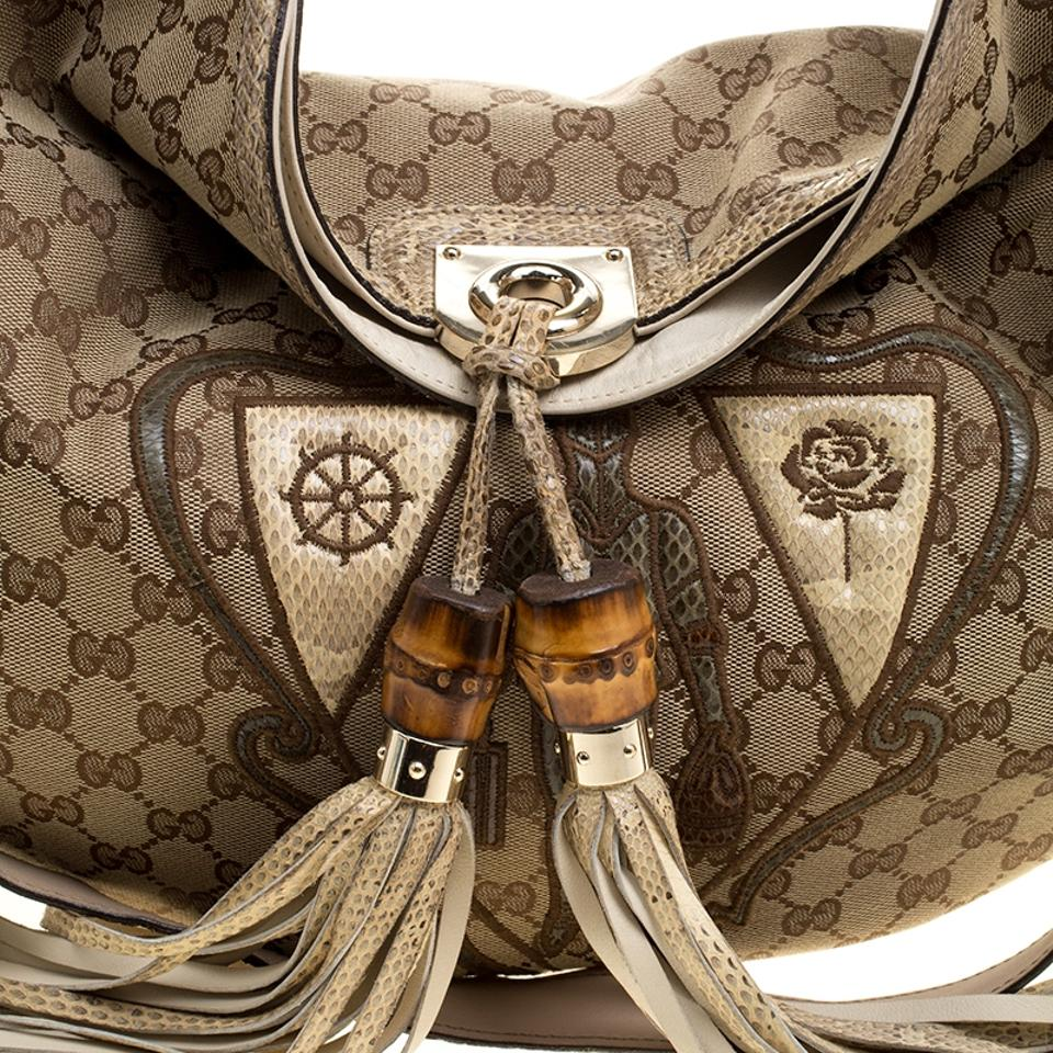 b5b37eac11b79b Gucci Indy Canvas Limited Edition Crest Patchwork Top Handle Beige ...