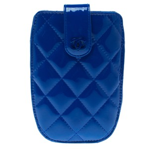 Chanel Dark Blue Quilted Patent Leather IPhone 4S Holder
