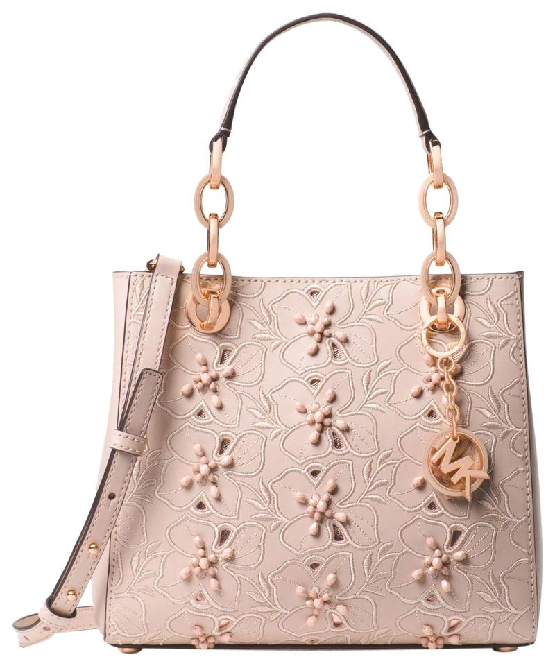 14ef4115e640 Michael Kors Cynthia Small Floral Embroidered Soft Pink Leather ...