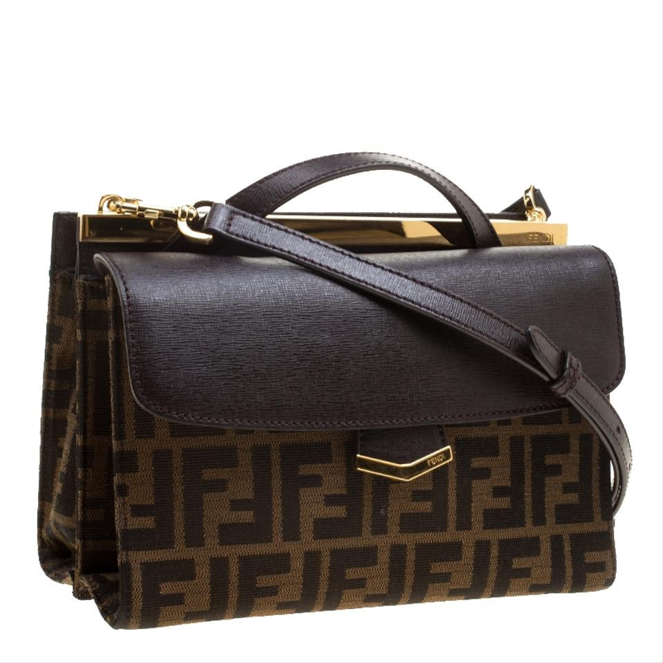 0717511a1a39 Fendi Tobacco Zucca and Leather Demi Jour Brown Canvas Shoulder Bag -  Tradesy