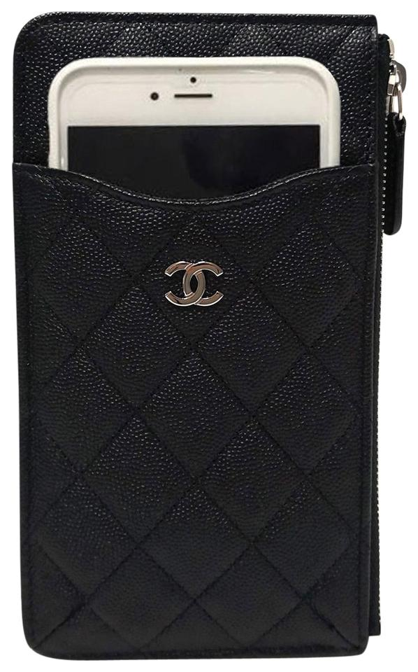 d08cd0fb7c52 Chanel CHANEL Classic Black Caviar Leather Phone Pouch Flat O-Wallet Image  0 ...