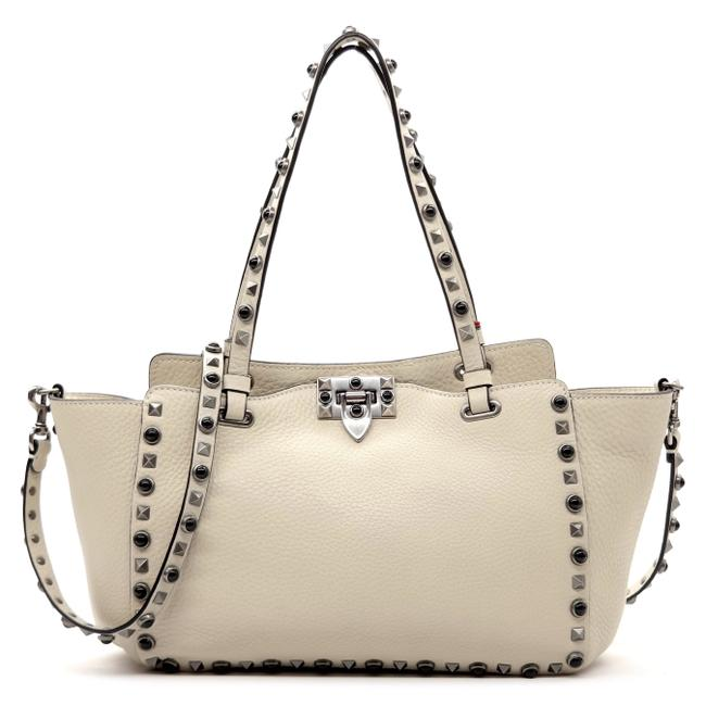 Item - Rockstud Rolling Ivory White Leather Tote